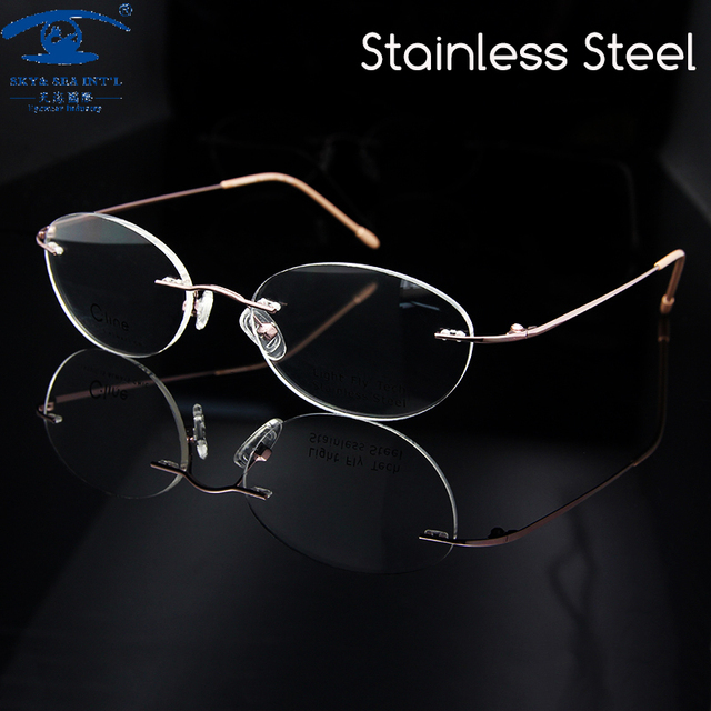 97f49e1d9c23 New Retro Luxury Rimless Eyeglass Frames Woman Pink Color Spectacles Frame  Oval Women Prescription Eyewear Rx