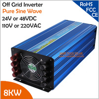 High Frequency 8000W 24VDC Or 48VDC To 110VAC Or 220VAC Off Grid Pure Sine Wave Single