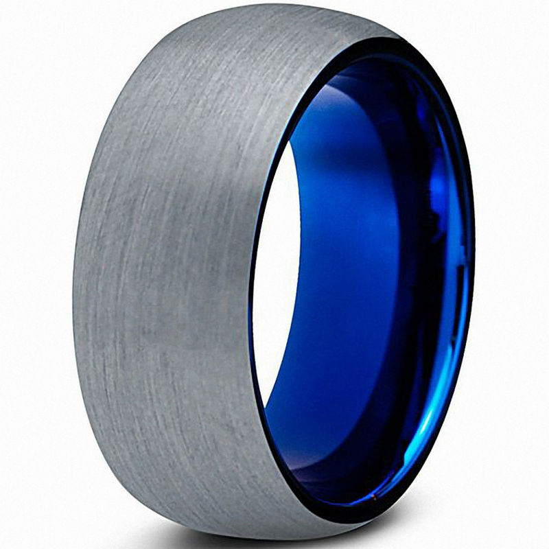 QUEENWISH Blue Tungsten Carbide Rings Brushed Comfort Fit Engagement Wedding Band