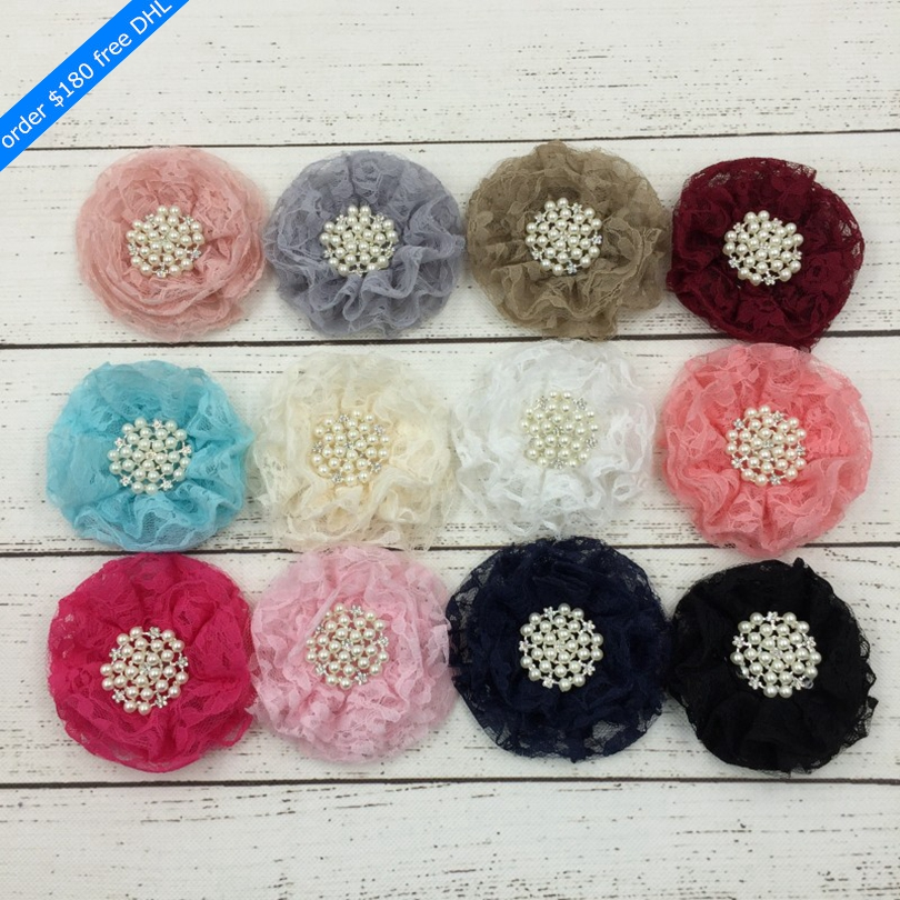 120pcs lot 9cm 12colors Hair Clip Beaded Chiffon Flower Pearl Rhinestone Button Shabby Lace Ruffled Fabric