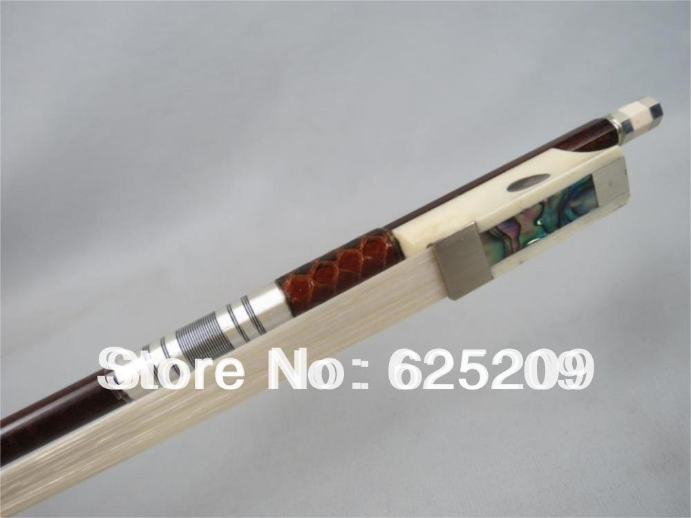1 Pc Professional Snake Wood Violin Bow ,Ox Bone Frog Siberia White Horsetail Best Balance Round Stick aaaaa professional pernambuco wood 4 4 violin bow white siberia horsetail nickel siver mounted ebony frog free shipping 9