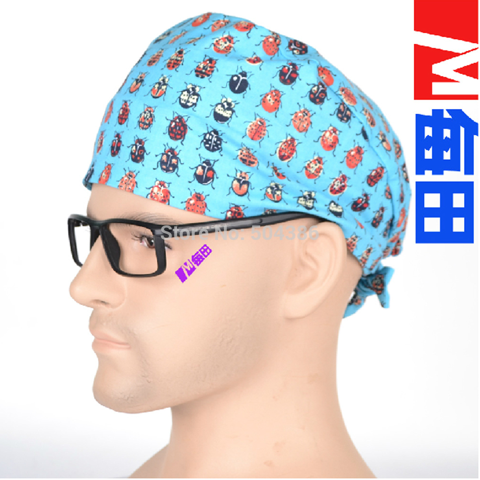 Men Surgical Scrub Caps With Spiders Pattern