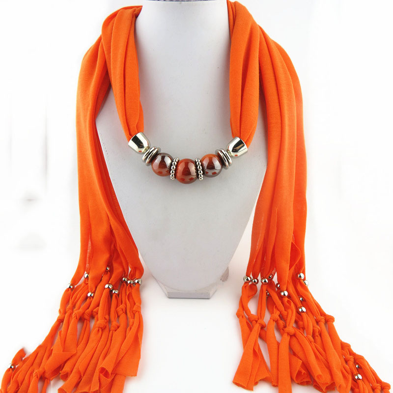 OMENG Multicolor fabric chain jewelry choker circle collar woman ladies girls nacklace Short Scarf Chain Necklaces carves XL440