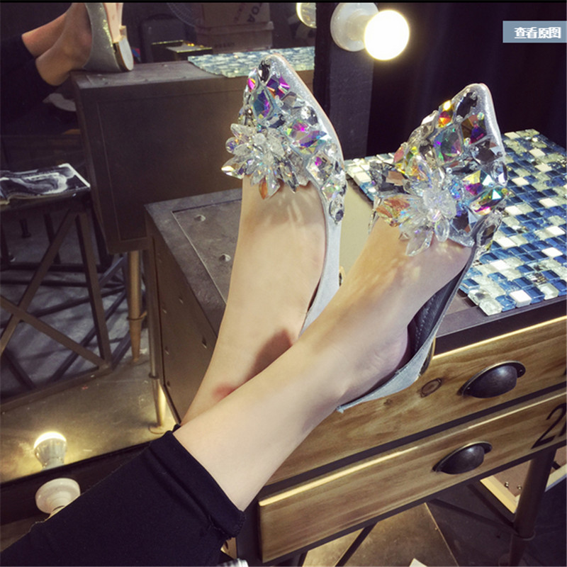 New 2016 Spring Women Shoes Rhinestone Crystal Pointed Toe Flat With Boat Shoes Wedding Shoes For Party #2948 от Aliexpress INT