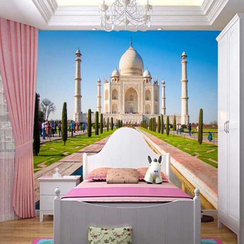 Beibehang Kustom Wallpaper Kamar Tidur TV Latar Belakang Dinding India Lanskap Lukisan Mural Taj Mahal Papel De Parede 3D Wallpaper