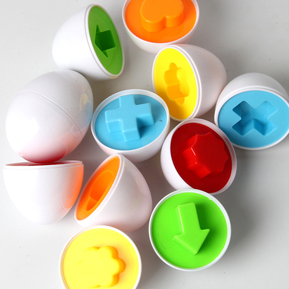 6 pcs/lot Early Childhood Educational Toys Children Smart Intelligence Egg Shape Matching Color Matching Shilly Eggs