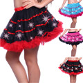 3 Colors Sexy Women Tutu Mini Skirts Solid Tulle Ball Gown Waist Elastic Skirts Ladies LED Dancing Mini Red White
