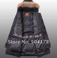 мужская черный длинный пуховик пальто супер сохранение тепла может выполнять крышка действительно воротники мода мужской пальто мужская куртка