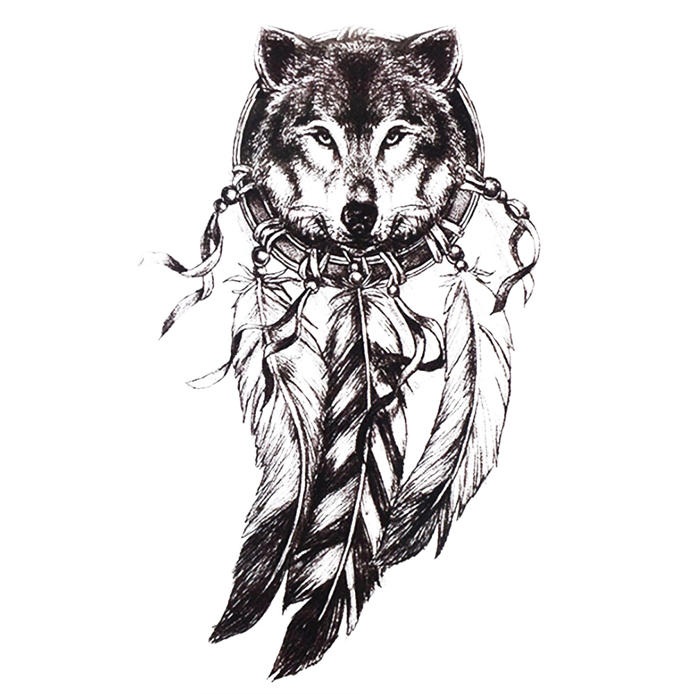 1pc Sketch Black Tattoo Sticker Women Men 3d Body Art Hb577 Wolf Dreamcatcher Indian Feather Flower