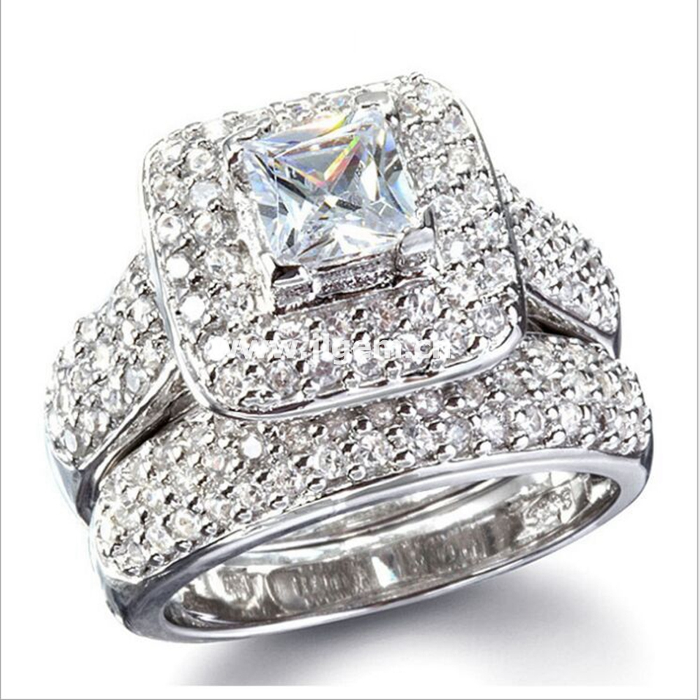 Good quality AAAAA CZ Stone Double Ring Free Shipping Wholesale White Party, Engagement Wedding Rings