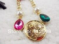 темперамент золото лев кулон ожерелье для женщины короткая драгоценный камень ожерелье цепь женское животное голова ожерелье