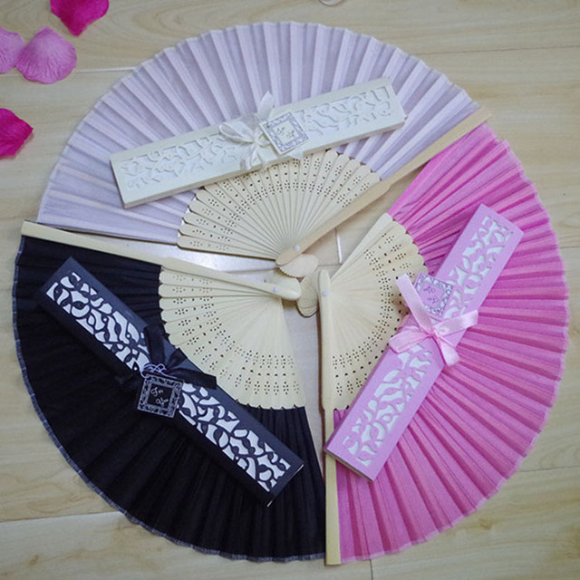 12pcs Lot Hot Style Wedding Gifts Crafts Luxury Silk Fan Souvenirs Decoration