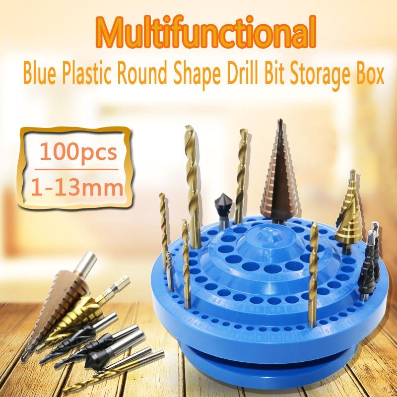Multifunktionale Blau Kunststoff Runde Form Bohrer Aufbewahrungsbox