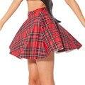 2017 Saias Femininas School Girl Mini Falda A Cuadros Amarillo Estilo Colegiala Falda de talle alto Para Las Niñas 71089 de La Vendimia de Tulle falda