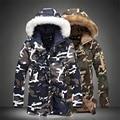 2017 Зима мужской длинный абзац С Капюшоном камуфляж хлопок плюс увеличение код мужчины теплый Меховой воротник Пальто Сгущать парки куртки 5XL