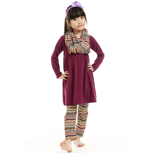 a7f894a88ba9 Spring Fall Children Kids Outfits 3 Piece Scarf Shirt Pant Sets Plum ...