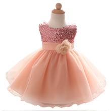 Newborn Baby Girl Dress For Girls Ceremonies Party Wear Flower Ribbon Bow Kids Dresses Sequined Formal Dress For Toddler 0-2Yrs