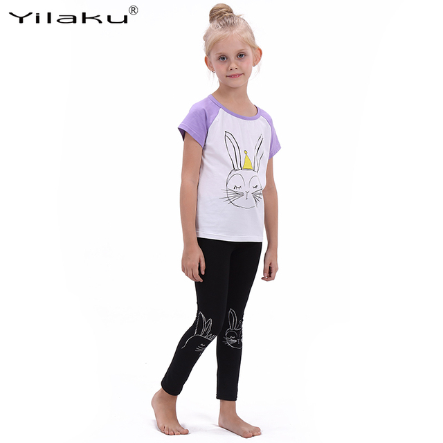 3f798e17258b Yilaku Girls Cartoon Suit Children Clothing Set Short Sleeve Rabbit T-shirt+Leggings  Sport Suits Girl Kids Summer Clothes Sets