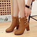 Designer de sapatos grossos com ms high-salto alto botas femininas botas curtas botas no outono e inverno de 2016 tamanho 34-43