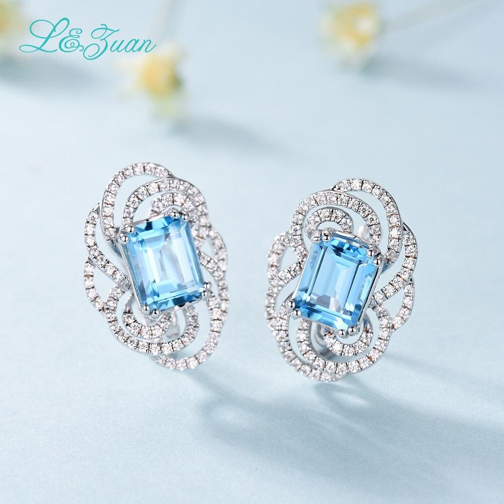 I & Zuan 925 argent Sterling luxe suisse bleu topaze Clip boucles d'oreilles pour les femmes carré pierre accessoires de mode diamant bijoux fins - 5
