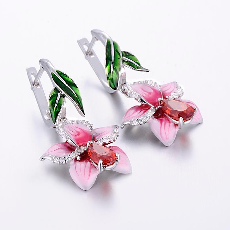 silver pink flower enamel earrings-E303872ENASL925-SV1 -