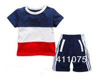 2015 новое поступление с коротким рукавом + шорты мальчик комплектов одежды детей детская мальчиков футболки спортивные 3 компл./лот