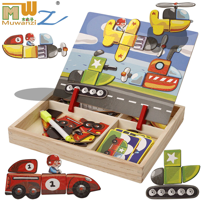 MWZ magnetic fun jigsaw children wooden puzzle board box pieces games cartoon educational drawing baby toys for girls boys girl