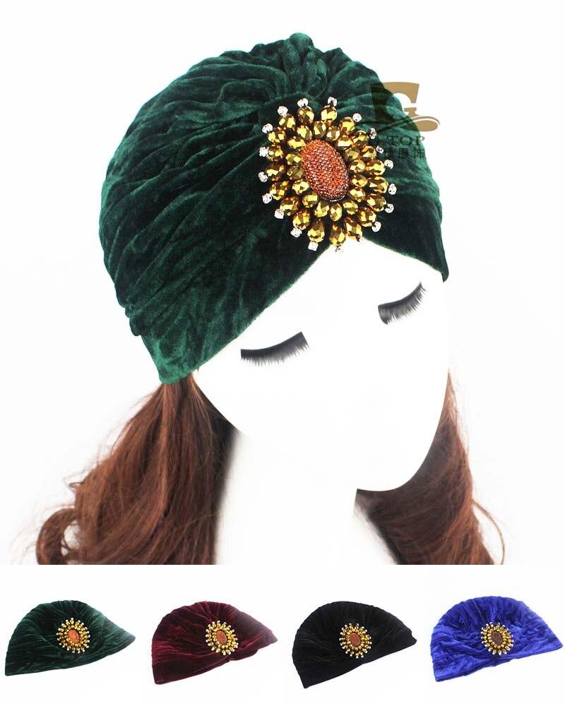 Women indian hat 2016 new fashion beads Sparkle dimond jeweled velvet turban headwrap head wrap hair G-181