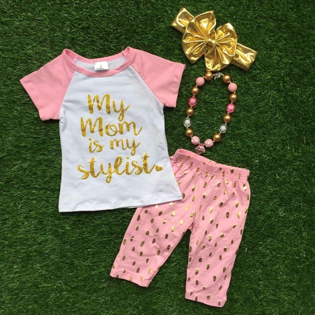 Girls Summer design baby girls boutique clothingmy mom is my stylish outfits short sleeve capri sets with accessories