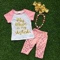 Verano de las muchachas muchachas del bebé del diseño boutique clothingmy mamá es mi estilo trajes de manga corta para capri juegos con accesorios