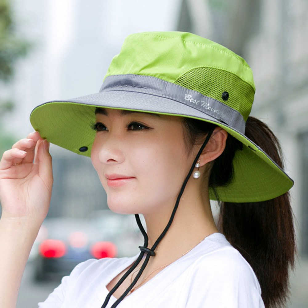 d1f7fbc4ccd9fa ... GEERSIDAN Top quality Summer sun women Bucket Hat Fashion cotton big  Brim beret cap for men