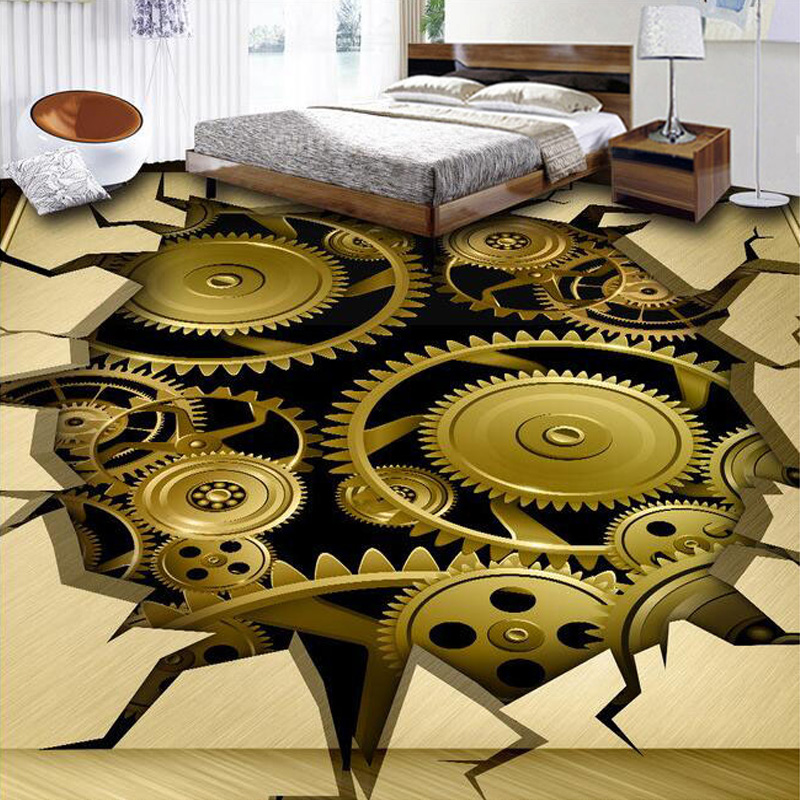Customized 3D Metal Mechanical Gear Crack Floor Mural Living Room Bedroom Bathroom Floor Backdrop PVC Self-adhesive Wallpaper