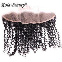 13×4 Brazilian Full Lace Frontal Kinky Curly Closure 10-18Inch 10A Kola Beauty Brazilian Curly Hair Ear To Ear Lace Closures