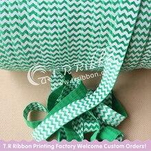 Cheap & High quality! 5/8″ 15mm FOE elastics, white chevrons in the #579 Classical Green elastics, 50 yards/roll Free shipping