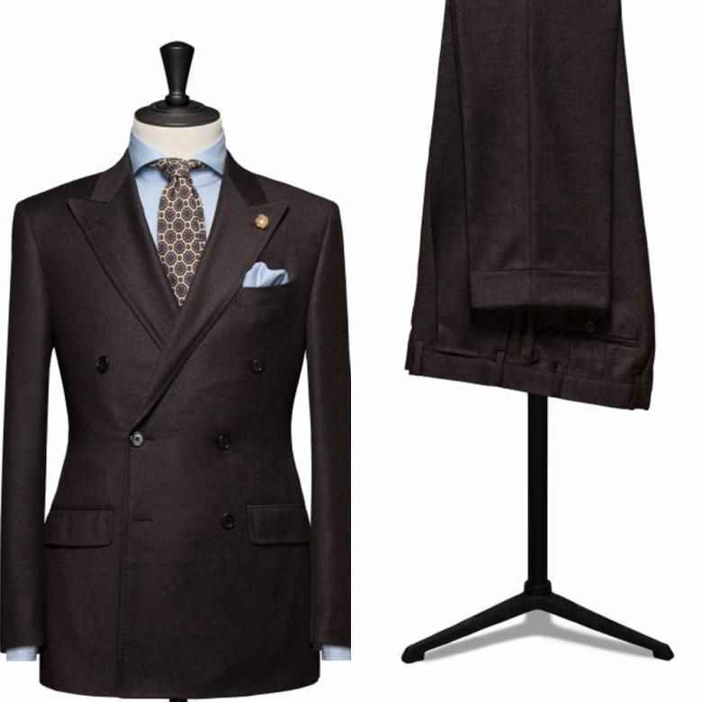 (Veste + pantalon + cravate) marron Peaked revers hommes costumes de mode sur mesure Terno Masculino Slim Fit Double boutonnage costumes Blazer formel
