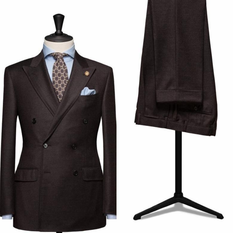 (ジャケット + パンツ + ネクタイ) ブラウンはメンズファッション、カスタマーメイド Terno Masculino スリムフィットダブルブレストスーツ正式なブレザー  グループ上の メンズ服 からの スーツ の中 1