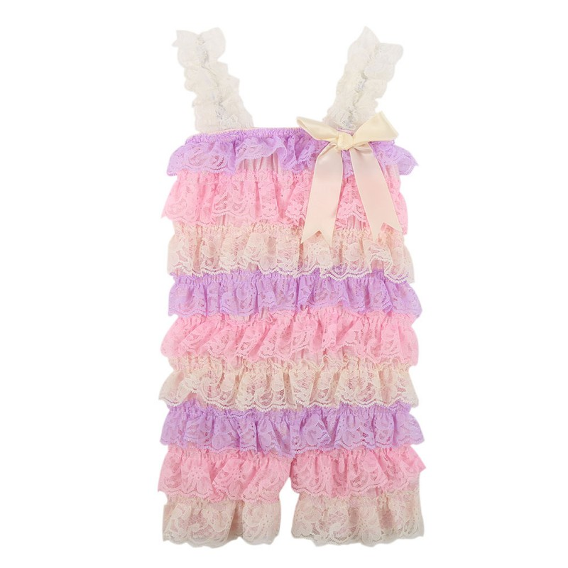 Contton Blends   Romper   Skirt Fashion Beautiful Baby Girl Lace Posh Petti Ruffle   Romper   Skirt Strap 0-3years