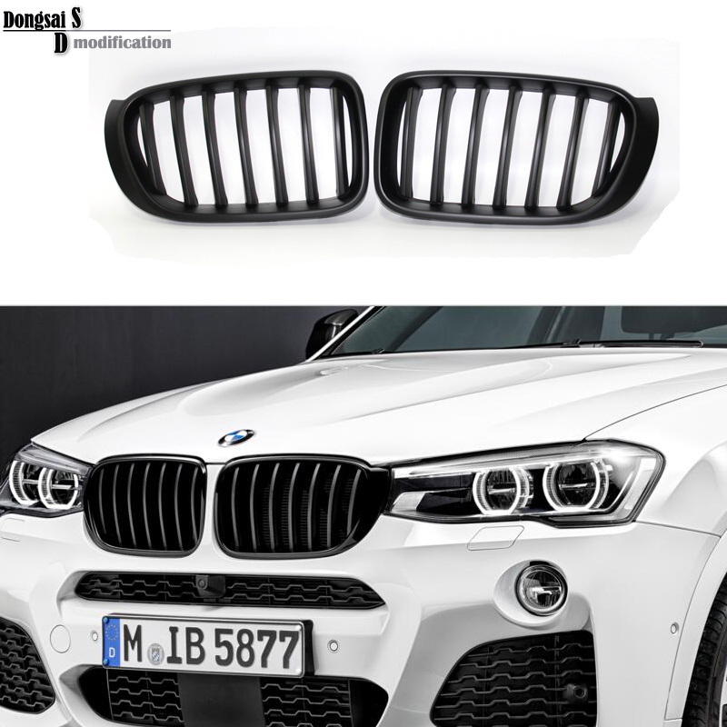 X3 F25 ABS Black Grill X4 F26 Front Grille Matte Black Hood  for BMW New Crossover 2014+ free shipping front center grill grid grille cover trim for 2014 2016 for toyota corolla