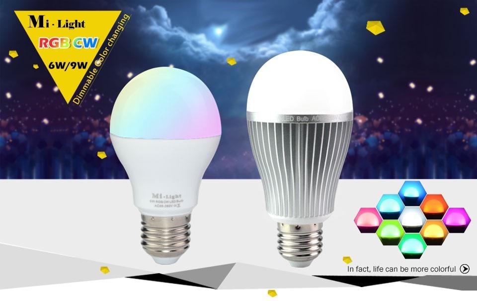 2.4G Wireless Mi-light E27 6W 9W RGBW RGBWW LED Light AC85-265V Dimmable Colorfull Bulbs Lamp RF Remote Wifi APP Control