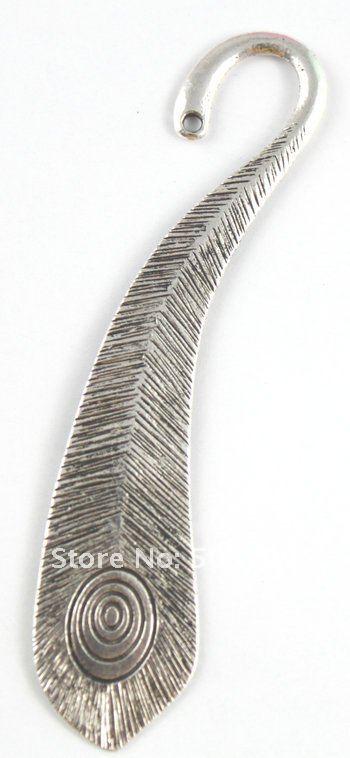 45 шт тибетский серебряный Павлин Закладка-перо A15571