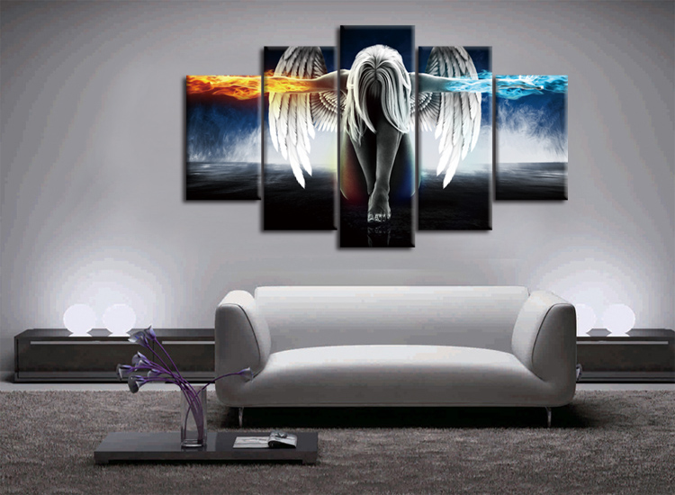 Frame schilderij op canvas sky angel wings woondecoratie thuis kamer