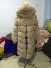 Top quality fox fur Jacket with a Big Hood long section women winter outwear 110cm