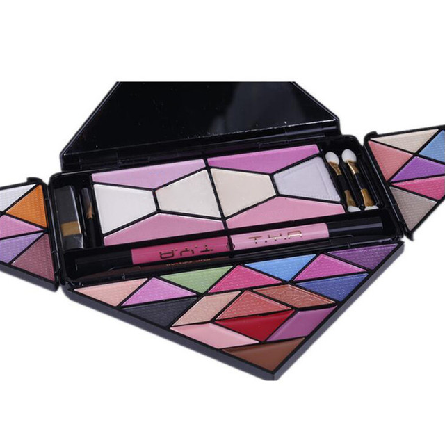 Profession Cosmetic Palette 28 Colors Eyeshadow Blush Makeup Set Warm Eye Shadow + Blush Lip Sticks Cosmetic Set