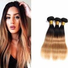 Full Shine Two Tone Brazilian Straight Virgin Hair Weave Bundles Braiding Human Hair 3Bundles Hair Extensions