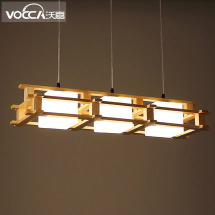 North Europe Retro Metal Pendant Lamp Cubic Glass Shade Wood Support Asile Light  Dining Light Bar