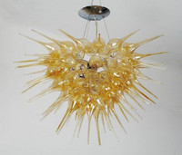 Home Decoration Contemporary Hand Blown Glass Low Ceiling Crystal Chandelier