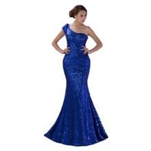 Mermaid Royal Blue Pailletten Abendkleid Schulter-langes Abendkleid verfügbar plus Größe
