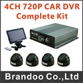 4CH 720 P COCHE DVR kit completo, incluyendo DVR 4 cámara + 7 pulgadas de monitor