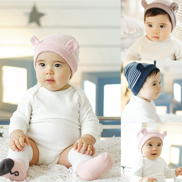 Baby Infant Cute Little Ears Stripe Cotton Baby Beanie Warm Hat Cap For Newborn Baby