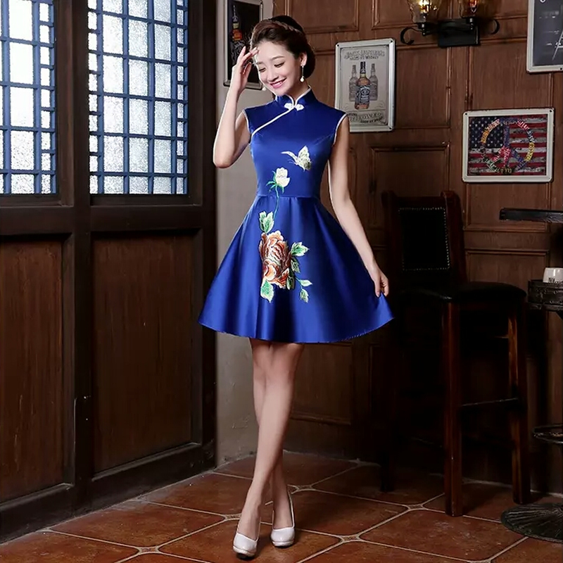 2016 Chinese Style Oriental Blue Traditional Dresses